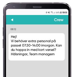 Crew planning SMS