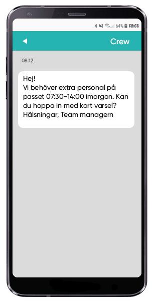 Kalla in personal via SMS