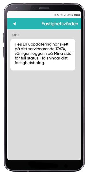 SMS avisering om serviceärende