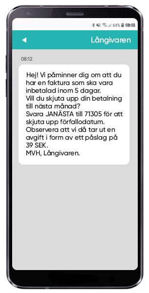 SMS skjuta upp betalning